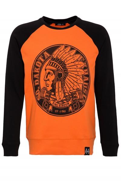 KING KEROSIN Raglansweater mit Kontrast Ärmeln und Druck So.Dakota