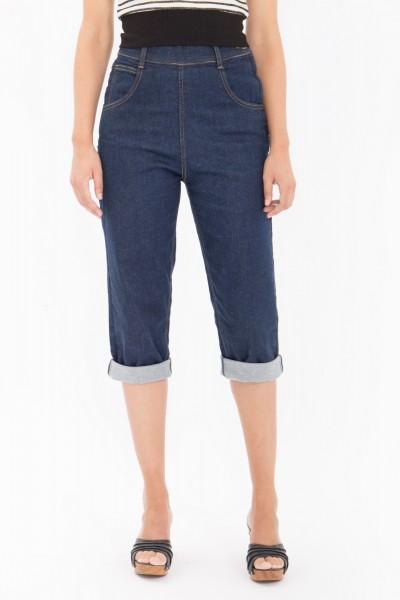 QUEEN KEROSIN High Waist Capri Jeans mit seitlichem Reißverschluss