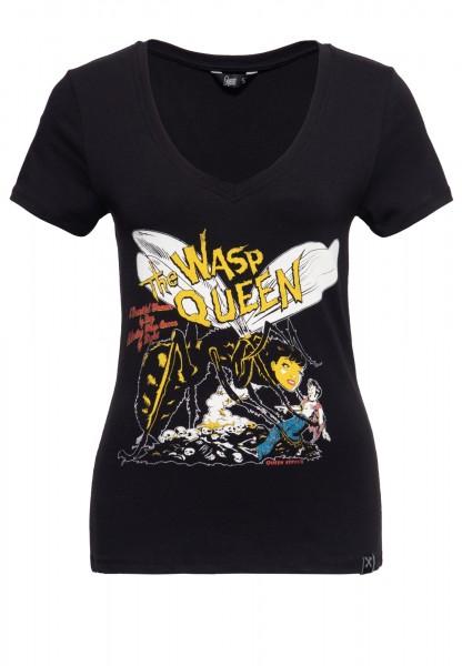 Slim Fit T-Shirt mit V-Ausschnitt und Print »Wasp Queen«