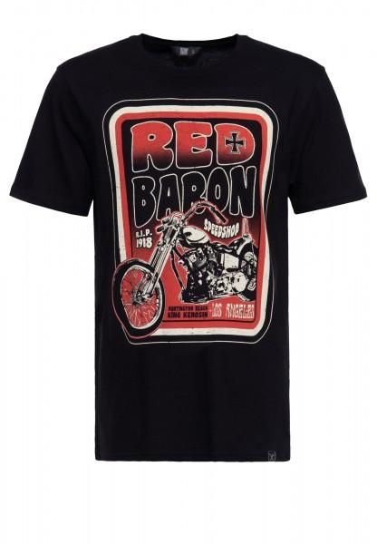 T-Shirt aus Baumwolle mit Print »Red baron speedshop«