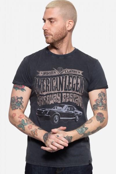Roll-Up T-Shirt Acid Wash mit Print vorne »American Legend«